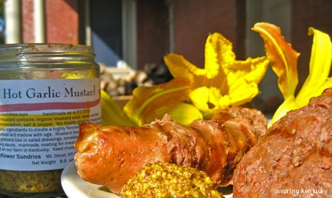 Sunflower Sundries Hot Garlic Mustard, with Kentucky grilled meats