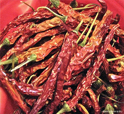 Dried Kentucky chili peppers