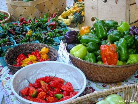 Peppers at Cleary Hill Farm Stand, Lexington Farmers Market, Kentucky