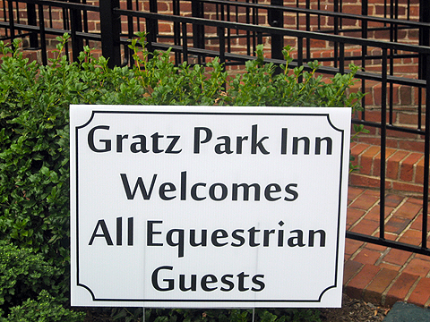 Sign welcoming guests coming to the Equestrian Games
