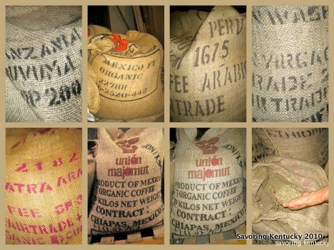 Green coffee beans in burlap bags from around the world