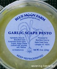 Blue Moon Garlic Scape Pesto