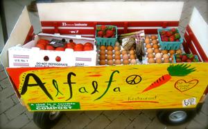 """Follow me to your brunch."" Alfalfa's Saturday morning Lexington Farmers Market cart"