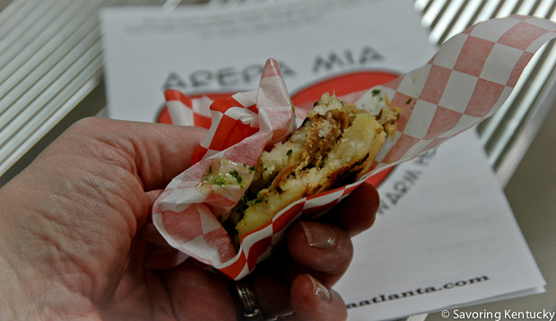 Arepa with Slow-cooked Local Pork, Arepa Mia, Atlanta