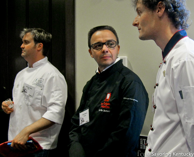 From left, Chef Jeremy Ashby (Azur, Lexington, Kentucky), Chef Cyrille Berland (Toques Rebelles Academy of Cooking, Caen, France), Chef Petr Elias (Hotel Villa, Prague, Czech Republic). Chefs Ashby and Elias later won the $5,000 prize during the Lyons Farm International Showcase, weekend competition