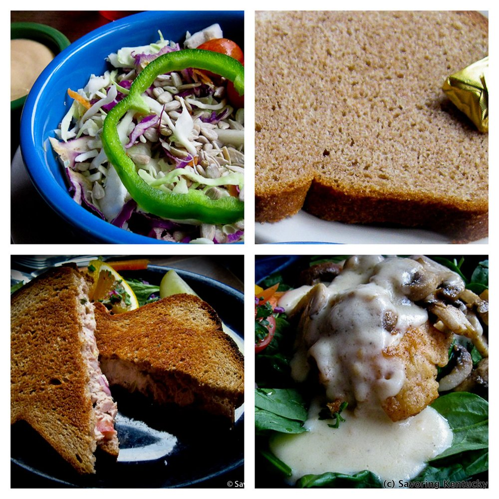 Top row, from left: house cabbage salad with miso dressing on the side; the superb house-made whole wheat bread that comes with most orders. Bottom row, from left: tuna melt sandwich; chicken Talese.