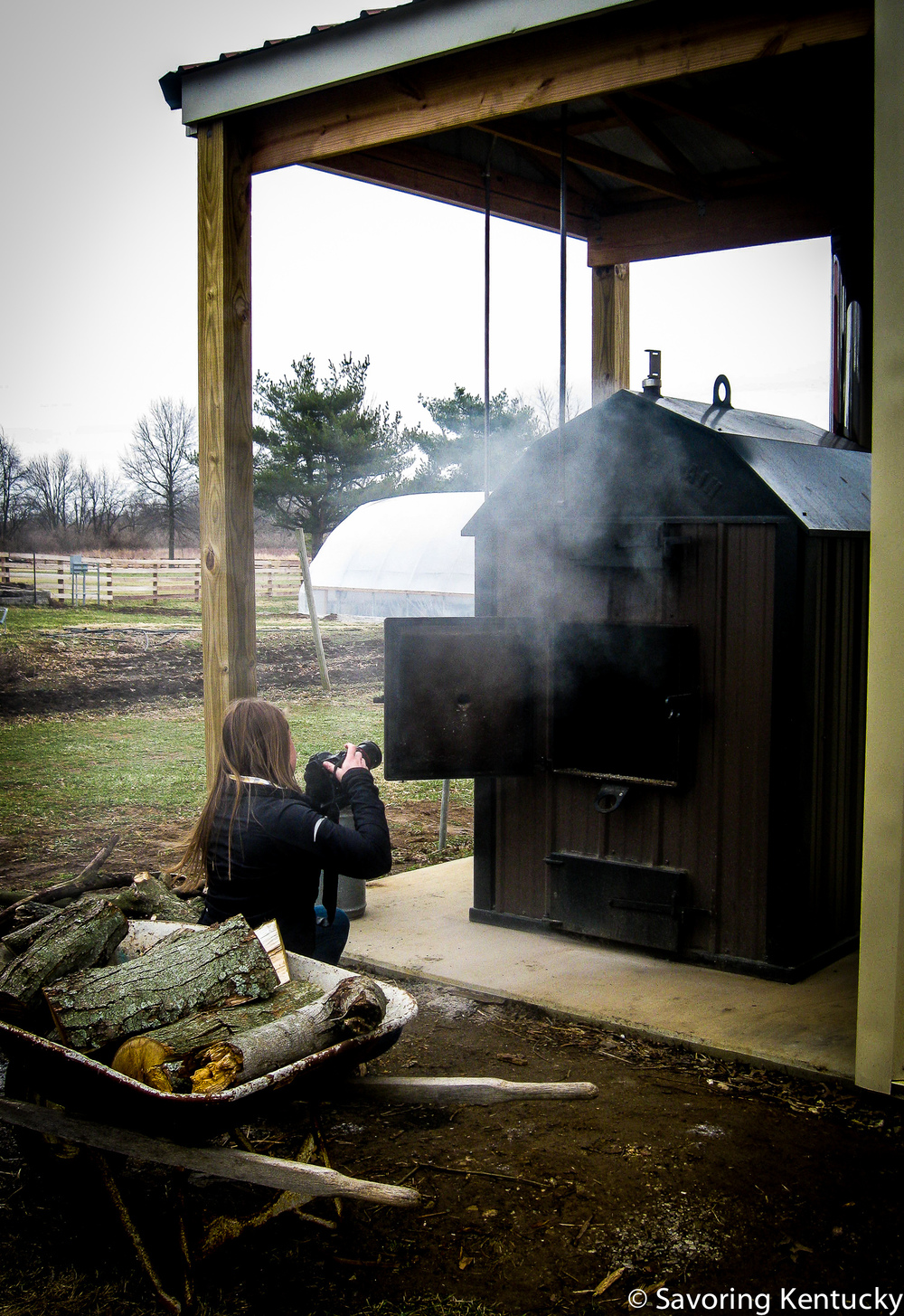 This wood-fired furnace at Henkle's Herbs & Heirlooms in Nicholasville heats a greenhouse.