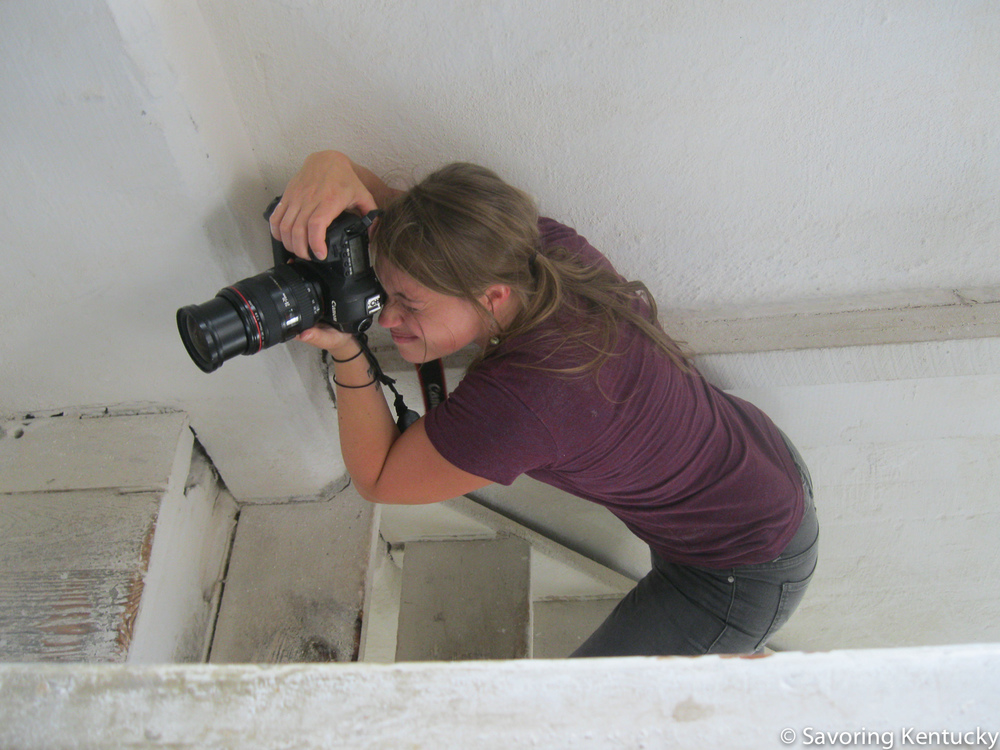 Sarah Jane getting a good angle inside Weisenberger Mill, near Midway, Kentucky.