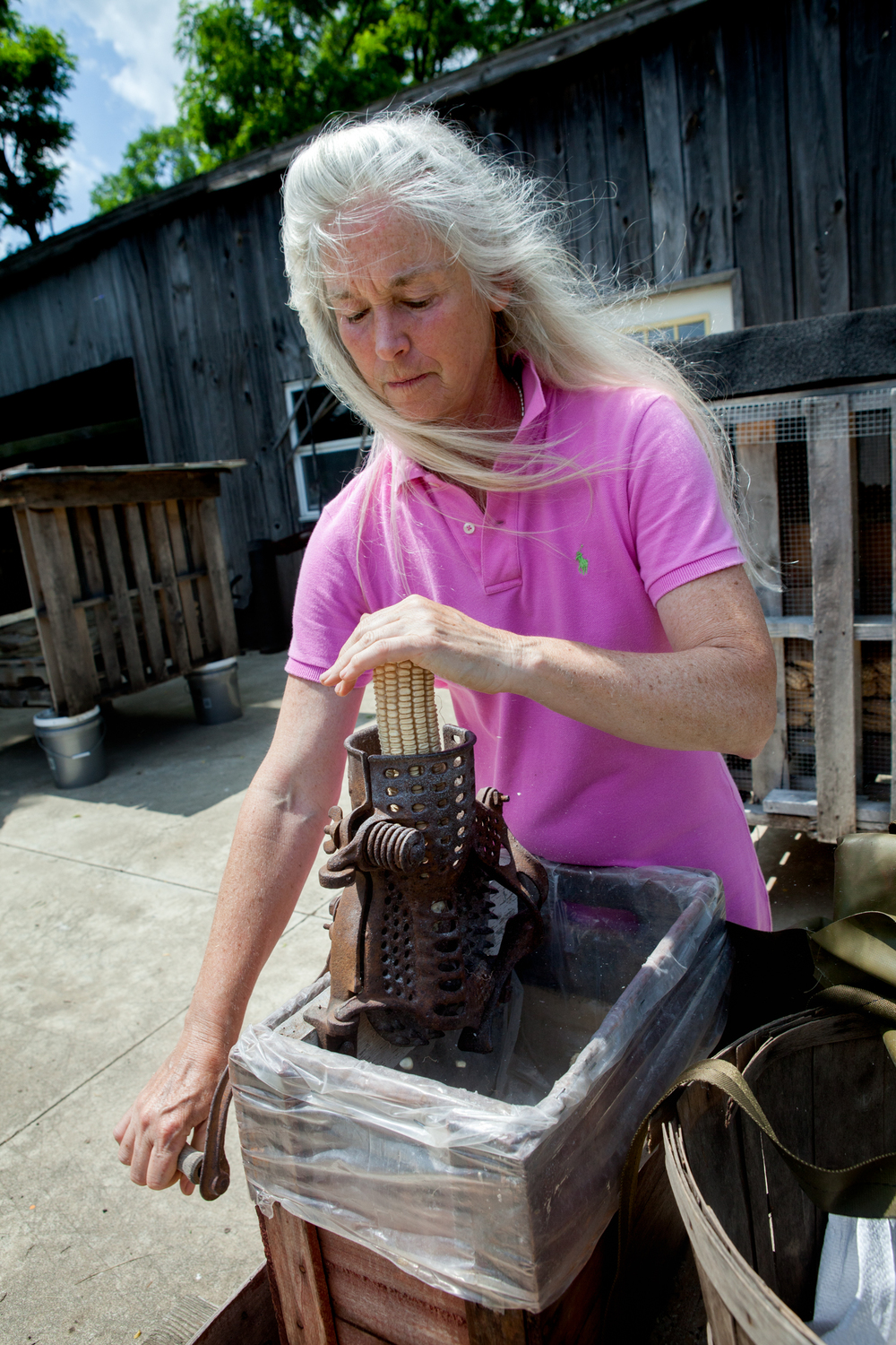 Jennifer Gleason of Sunflower Sundries shells heritage Hickory King corn. Photograph by Sarah Jane Sanders