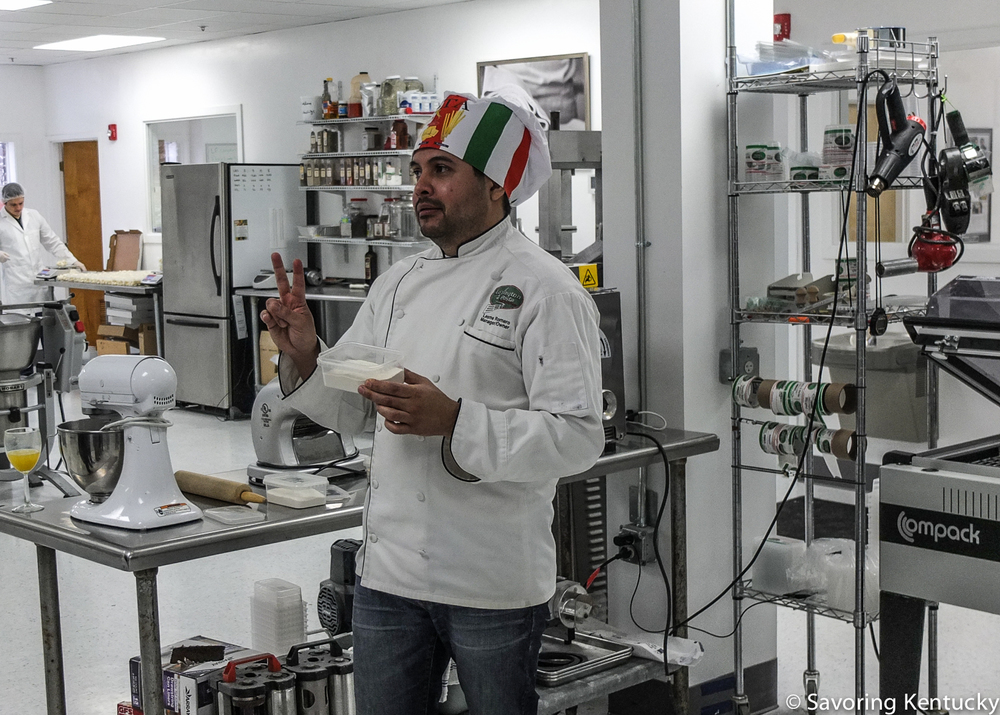 Lesme Romero, co-founder and owner of Lexington Pasta, describes wheats used for different types of pasta.
