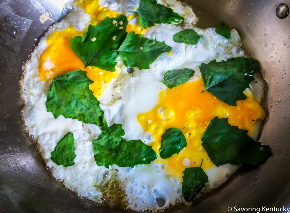 These beautiful eggs are headed toward a gluten-free breakfast sandwich; extra nutrients courtesy of lambsquarters.