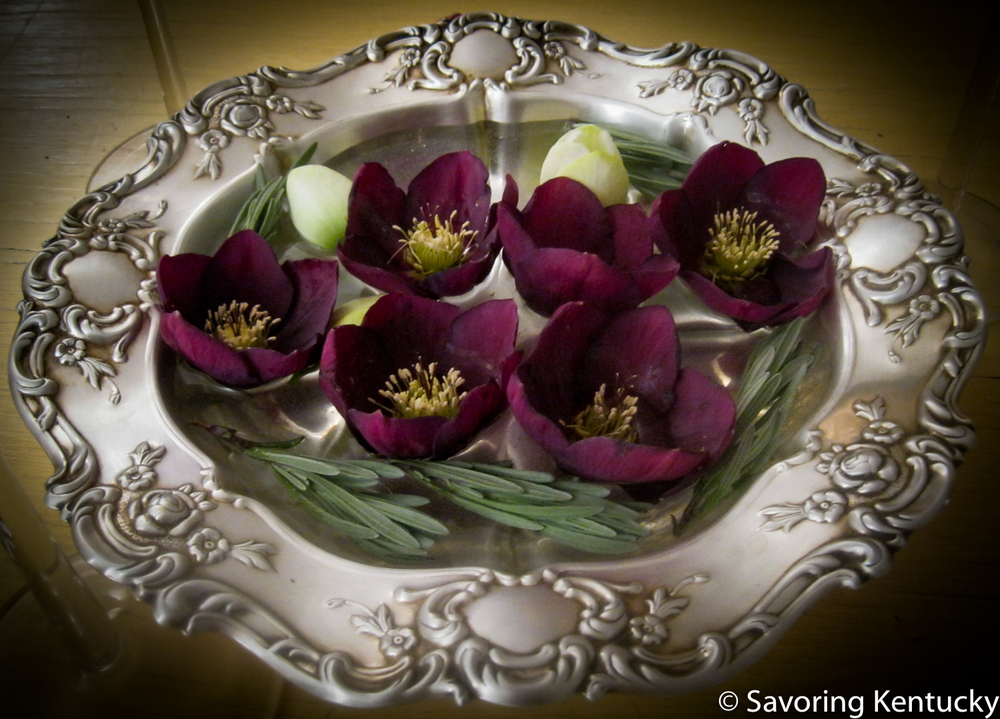 Helleborus  blossoms and rosemary from the early 2015 Campsie garden, in a silver wedding bowl