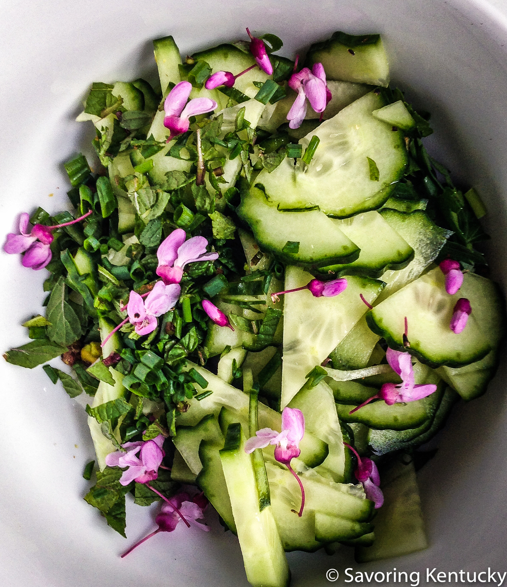 Redbud flowers add a lightly tart flavor and bright beauty to spring salads.