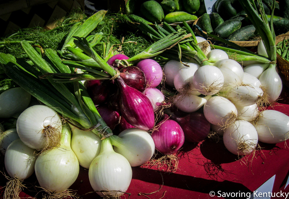 Both the small bulbs and greens on these early season onions offer a world of flavor opportunities. Most likely these beauties grew at  Stonehedge Farm Produce  in Woodford County, Kentucky.