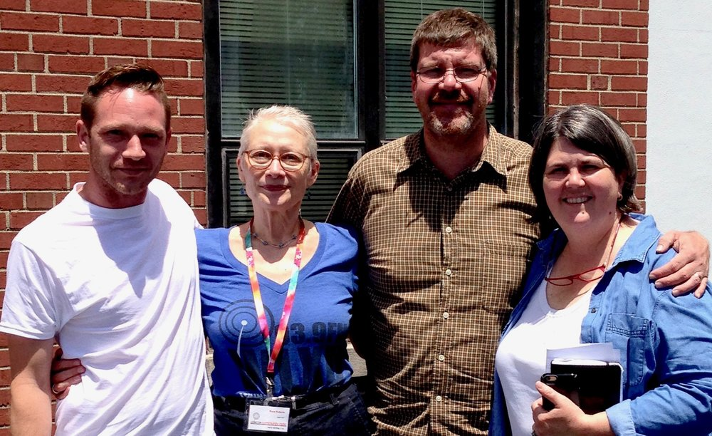After the show, outside the WLXU studio at Lexington Community Radio, from left, Chef Jonathan Sanning, Rona Roberts, Chris Michel, Chef Ouita Michel
