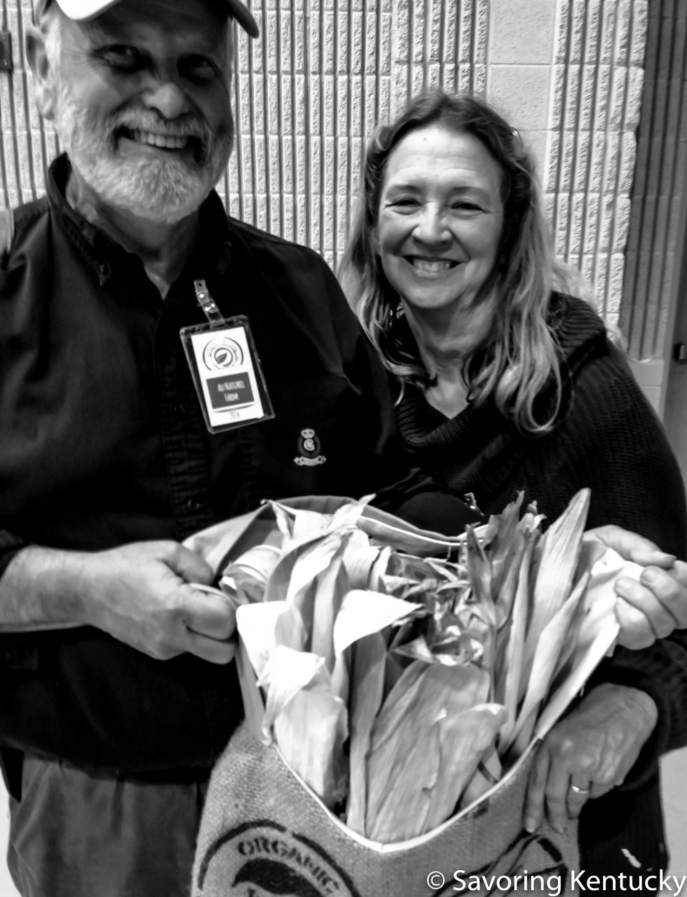Paul and Alison Wiediger with heirloom corn at the Kentucky Green Living Fair, 2014.