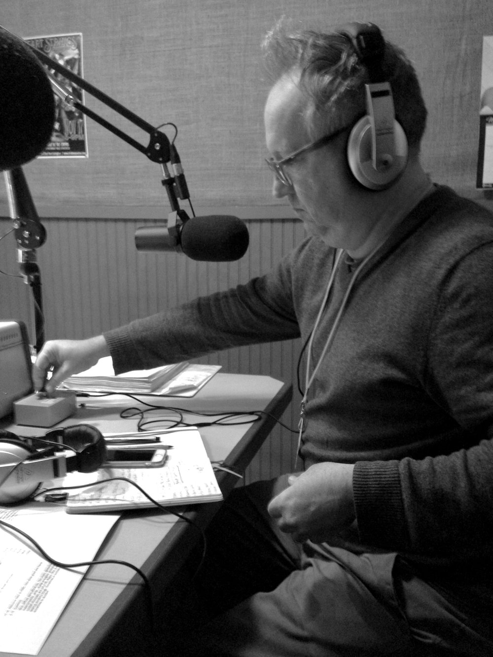 Mick Jeffries on the other side of the studio desk, guesting at Hot Water Cornbread. Mick hosts the long-running WRFL (88.1) radio show  Trivial Thursdays  every Thursday from 7 - 9 AM.