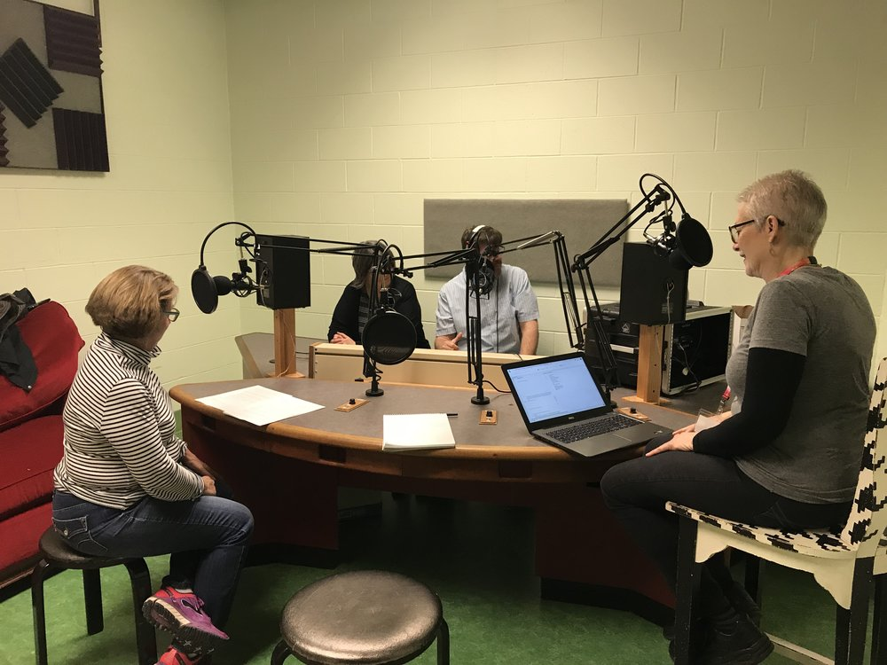 In the Lexington Community Radio studio at the Lyric Theater: from left, Lee Ann Jones, Ouita Michel, Chri Michel, Rona Roberts. Photo credit: Lisa Munniksma