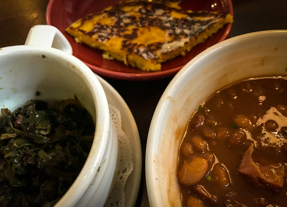 Greens, hoecake and beans at Lexington's fabulous  Honeywood  restaurant