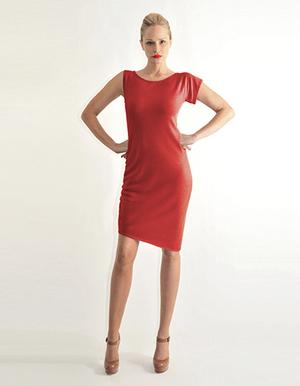 Asymmetric shoulder dress, red, black, navy, camel..jpg