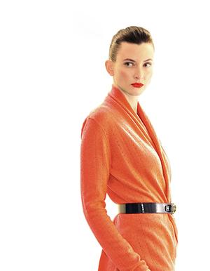 Lacy shawl neck cardigan, burnt orange.jpg