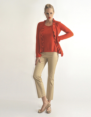 Ruffle cardigan with tank top, burnt orange, turquoise, white, camel...jpg
