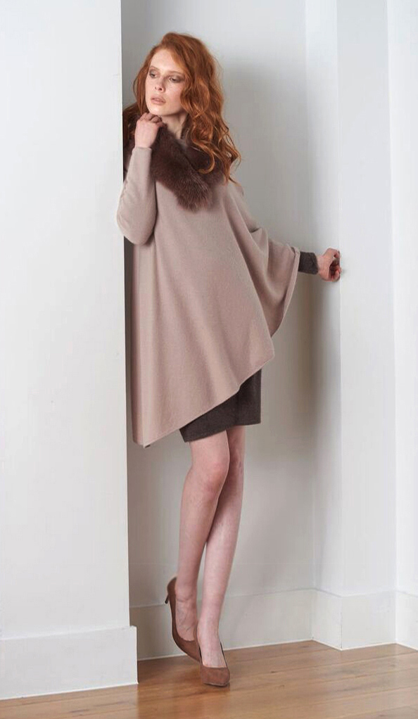 Cashmere One sleeve cashmere poncho nude.jpg