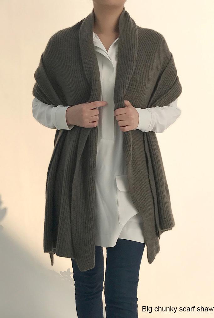 SEMON Cashmere large chunky scarf shawl in khaki.jpg