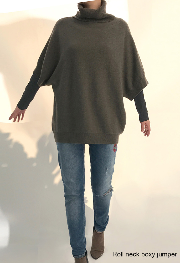 SEMON Cashmere Roll neck boxy jumper in khaki-1.jpg