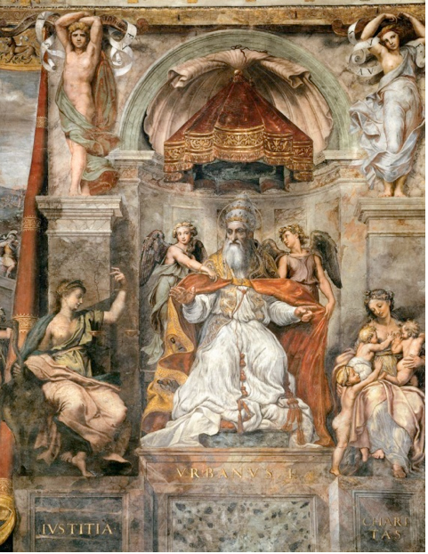 Raphael,  Pope Urban I between Iustitia and Caritas , 1520-24