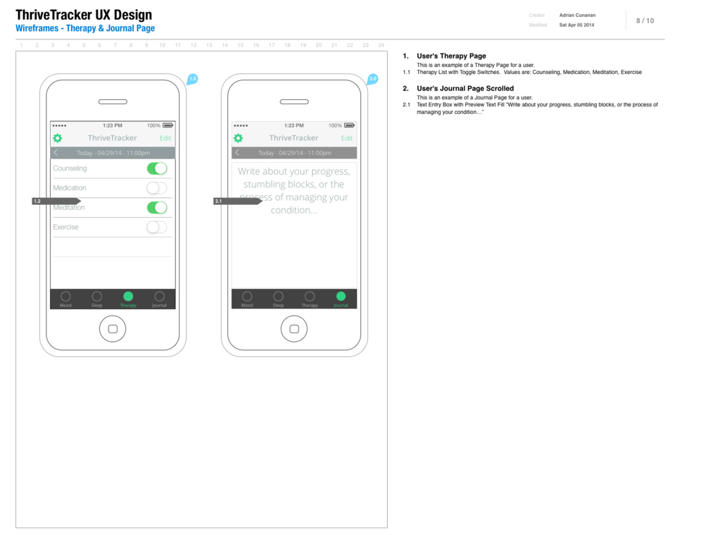 Wireframes - Therapy & Journal Page.png