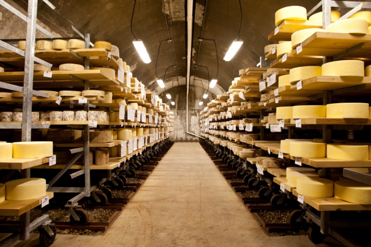 Four smaller vaults flank the three largest vaults in the center. This cave is used to cultivate natural rinds on cheeses like Bayley Hazen Blue and Landaff.