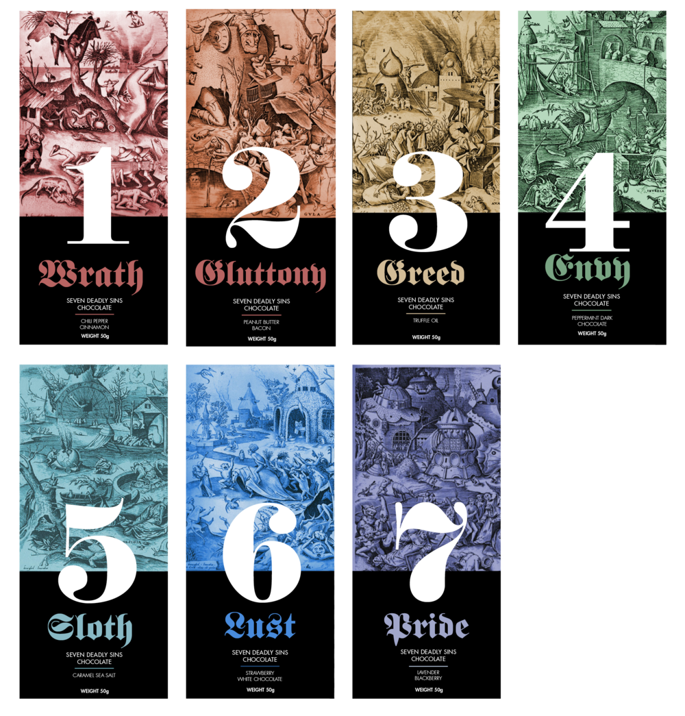 Seven Deadly Sins Chocolate Bars
