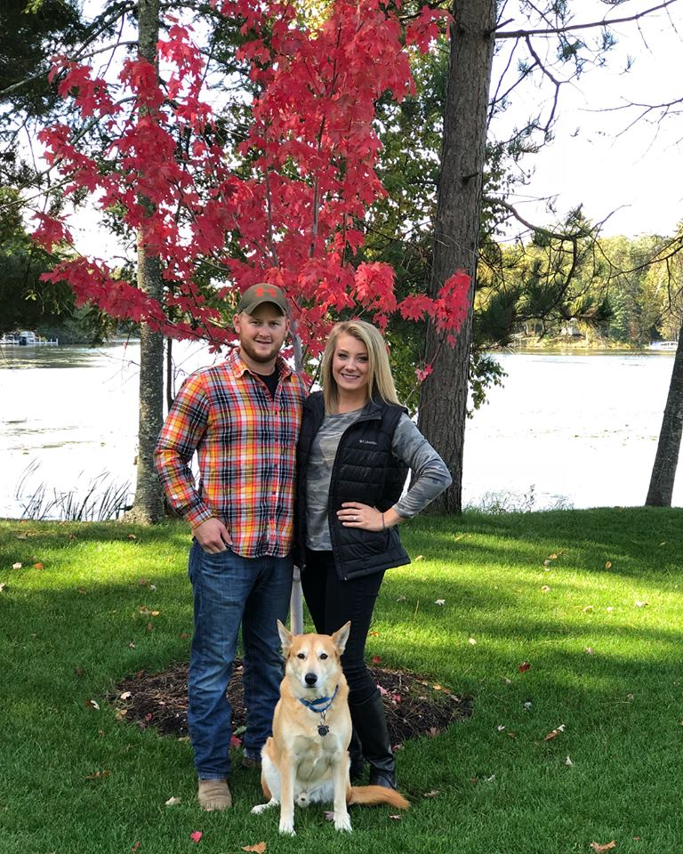 Megan with her husband, Daniel, and dog, Dexter.