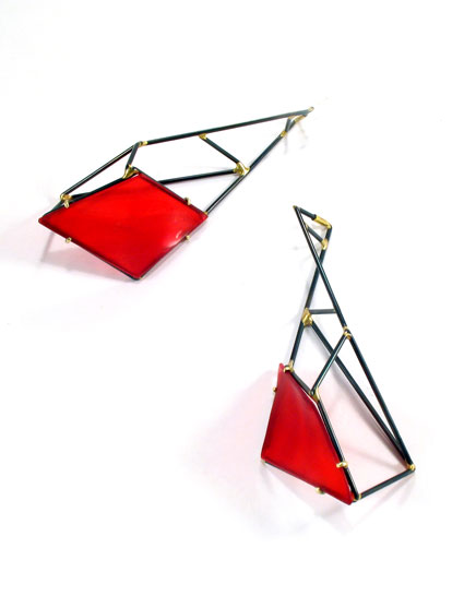 Red Field Earrings #1