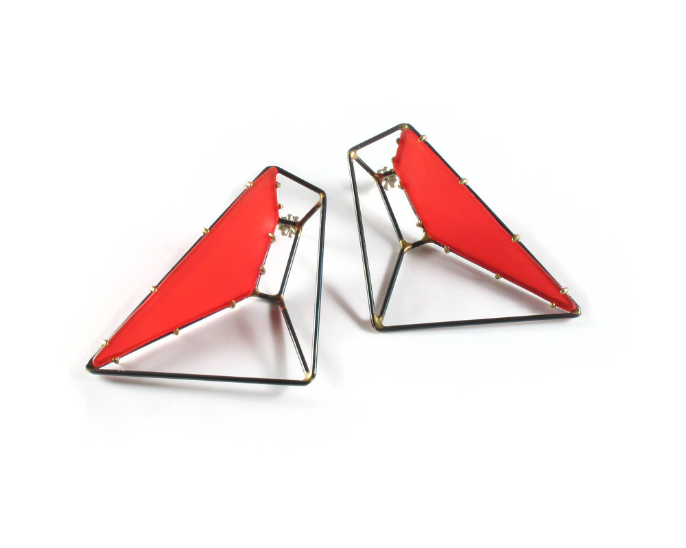 Foundation Trapezoid Earrings with Red Vinyl