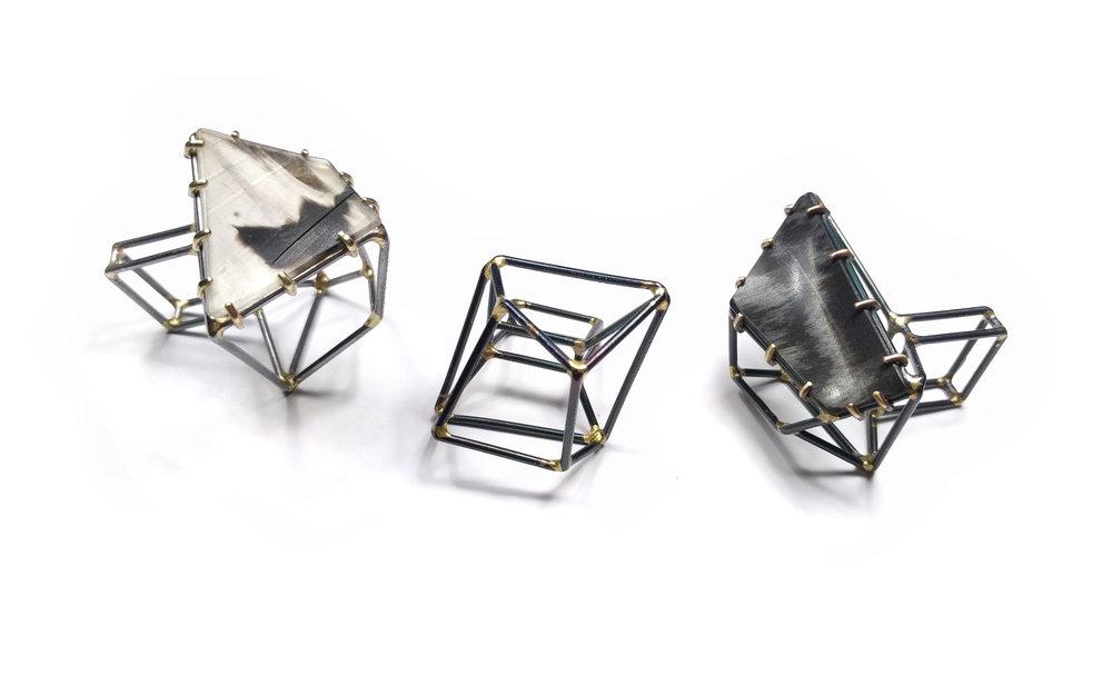 Cube Gem Rings