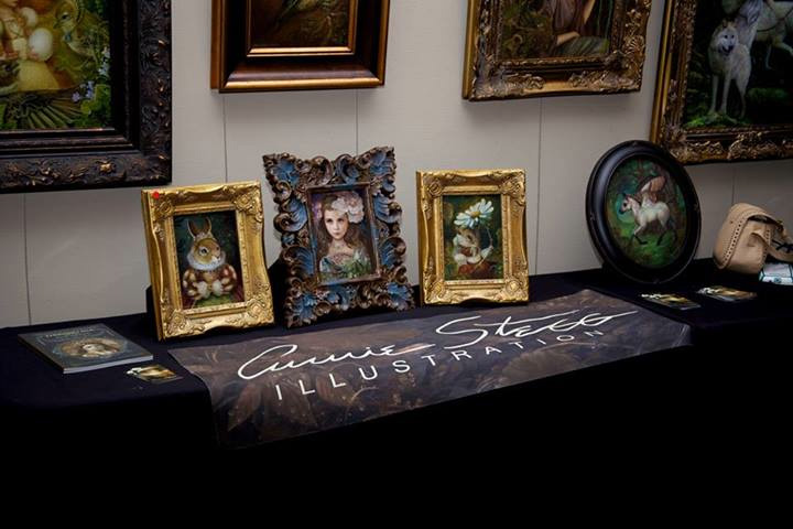 A wonderful photo of my mini IlluXCon paintings courtesy of Jeannie Wilshire.