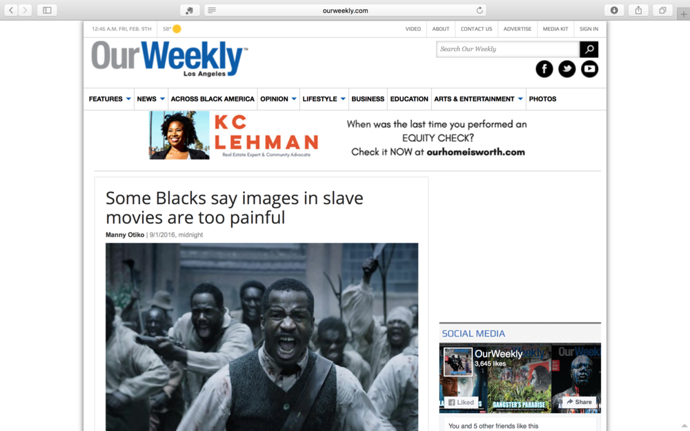 Our Weekly - In this article I share my thoughts about images of African Americans in film.