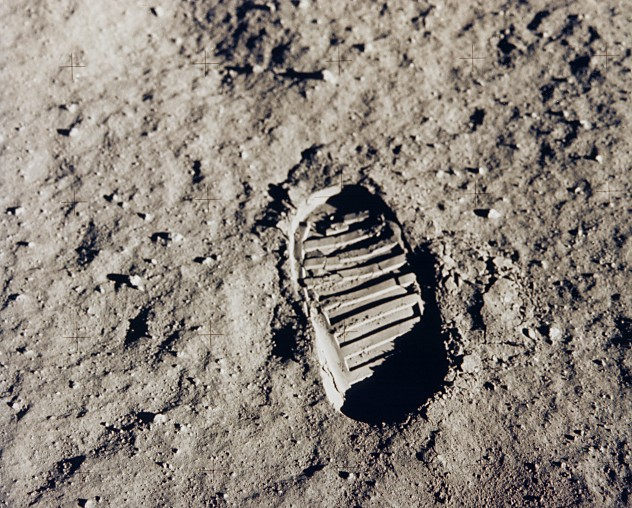 Buzz Aldrin's Boot-Print on the Moon, July 20, 1969. Source: NASA