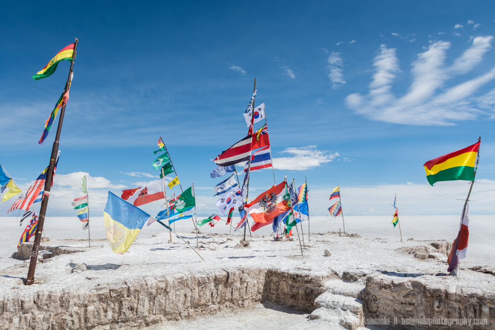 National Flags, Uyuni Slat Flat, Bolivian Highlands