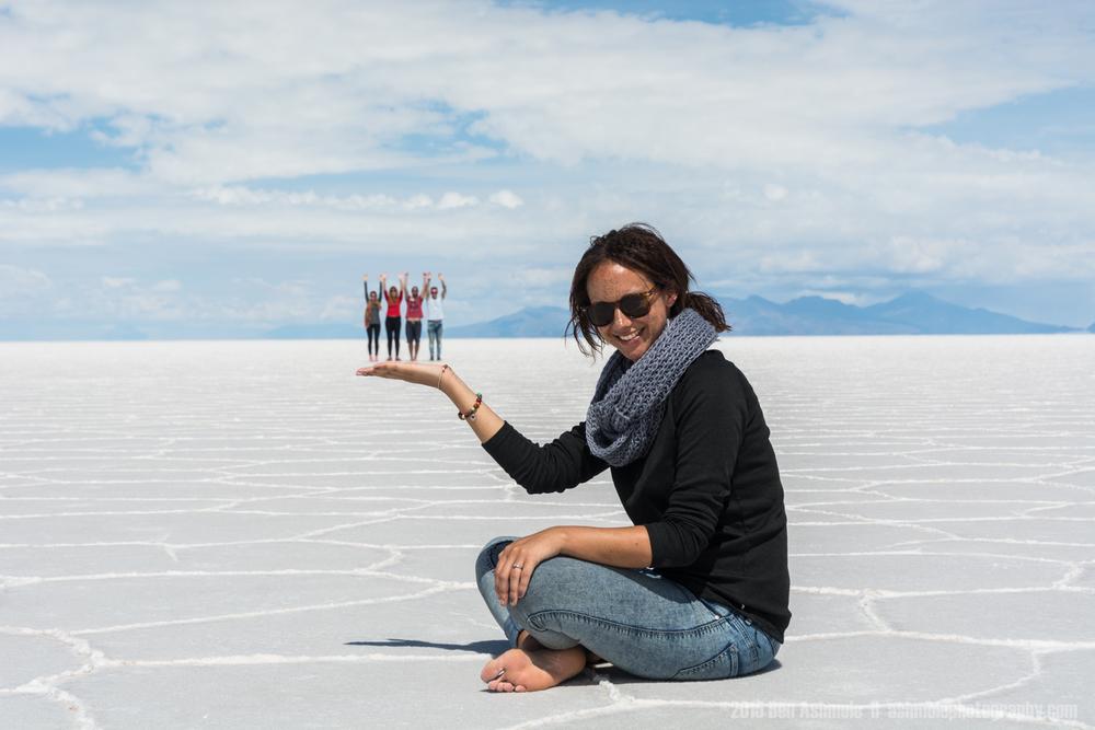 Holding People Perspective, Uyuni Salt Flat, Bolivia