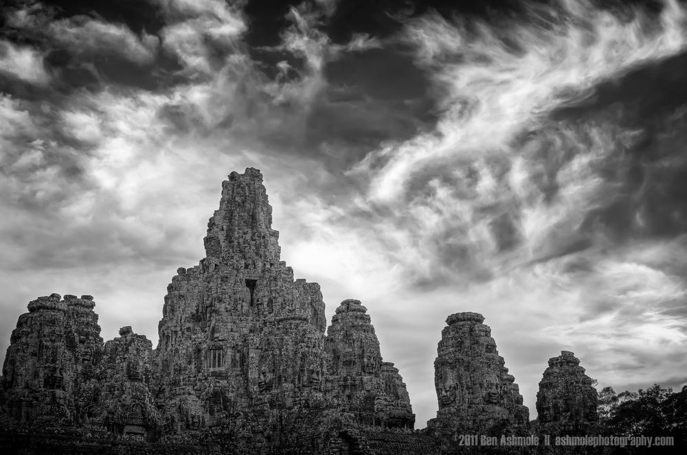 Bayon Under Cloud, Angkor, Cambodia