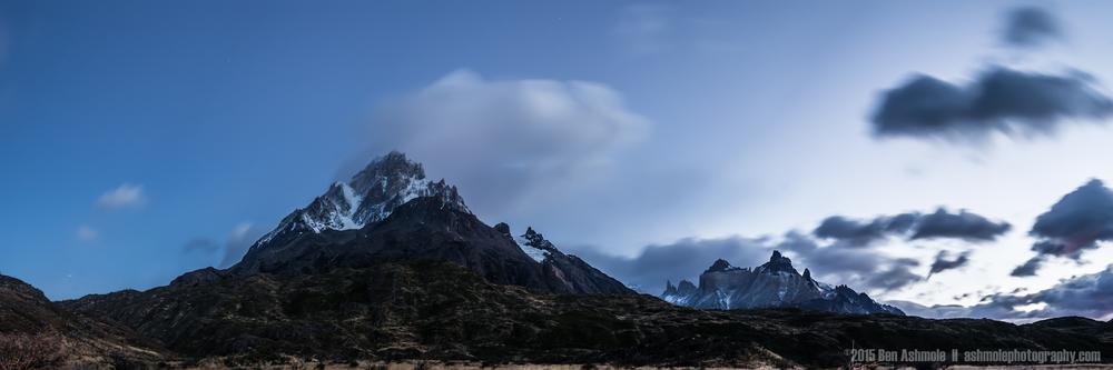 Torres Del Paine Blue Hour Panorama, Torres Del Paine, Patagonia