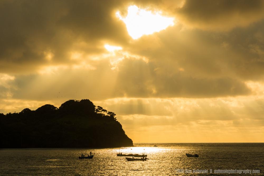 Fishing boat Sunset Silhouette, Mompiche, Ecuador