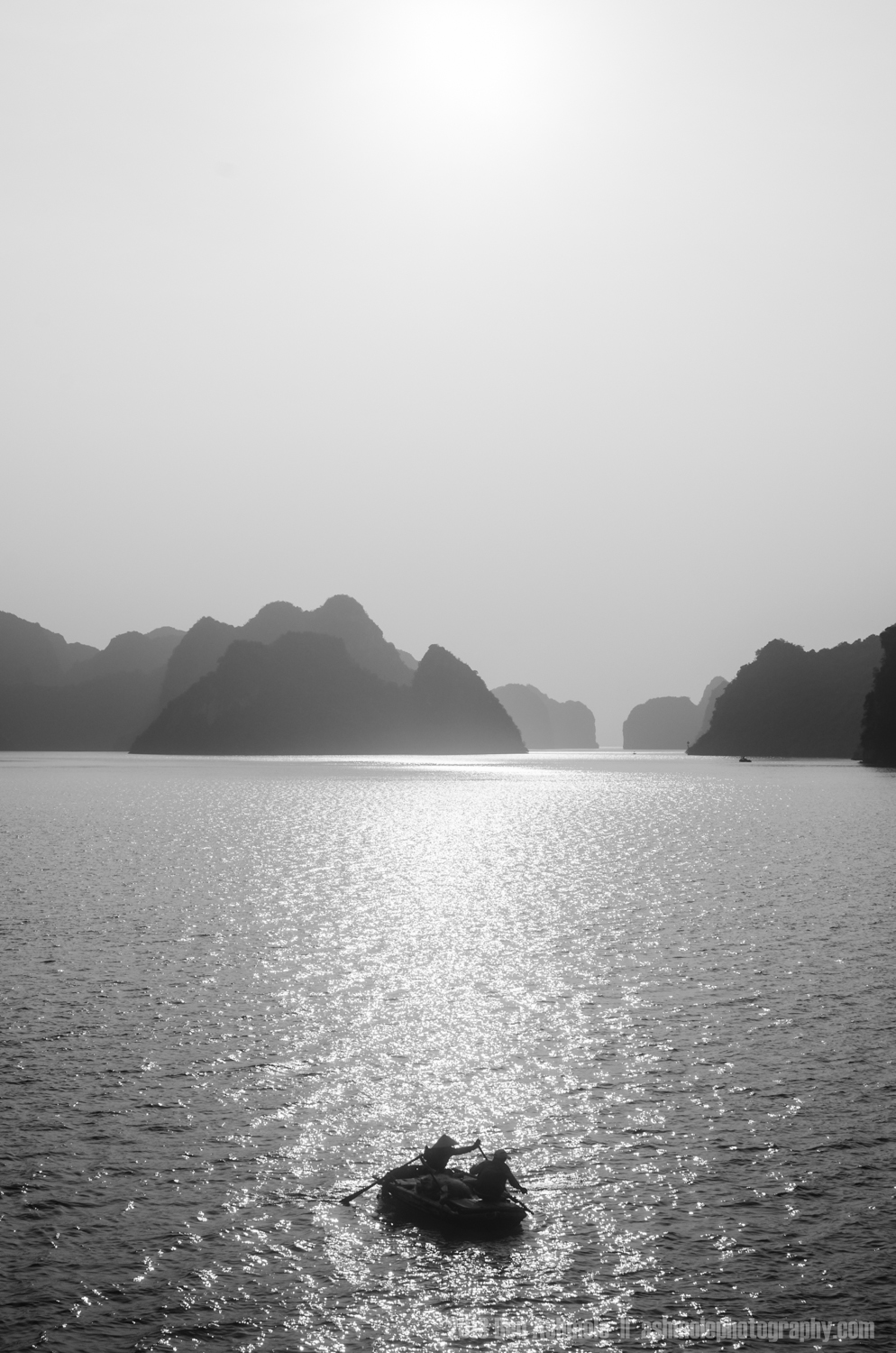 The Sillhouetted Row Boat, Ha Long Bay, Vietnam