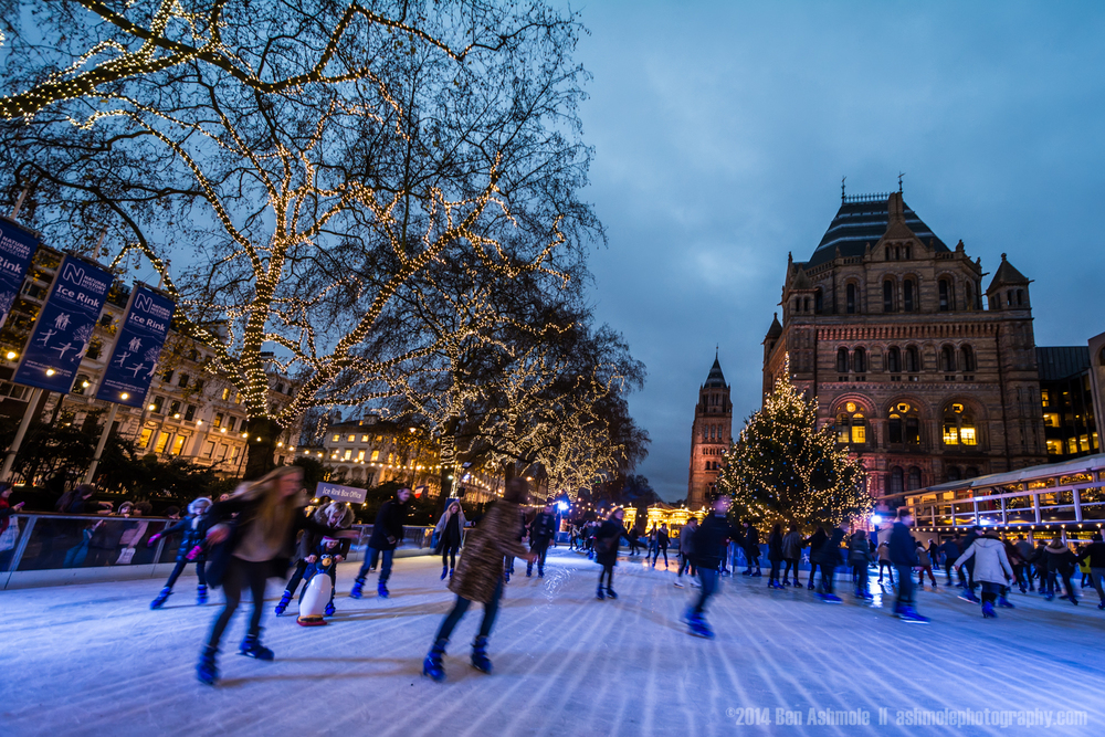 Night Time Ice Skating, Natural History Mueum, London, UK