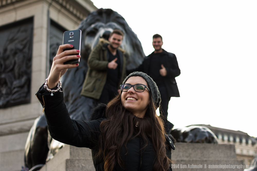 Taking A Selfie, Trafalgar Square, London, UK