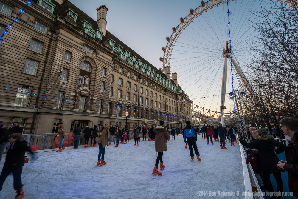 Ice Skating By The London Eye, London, UK