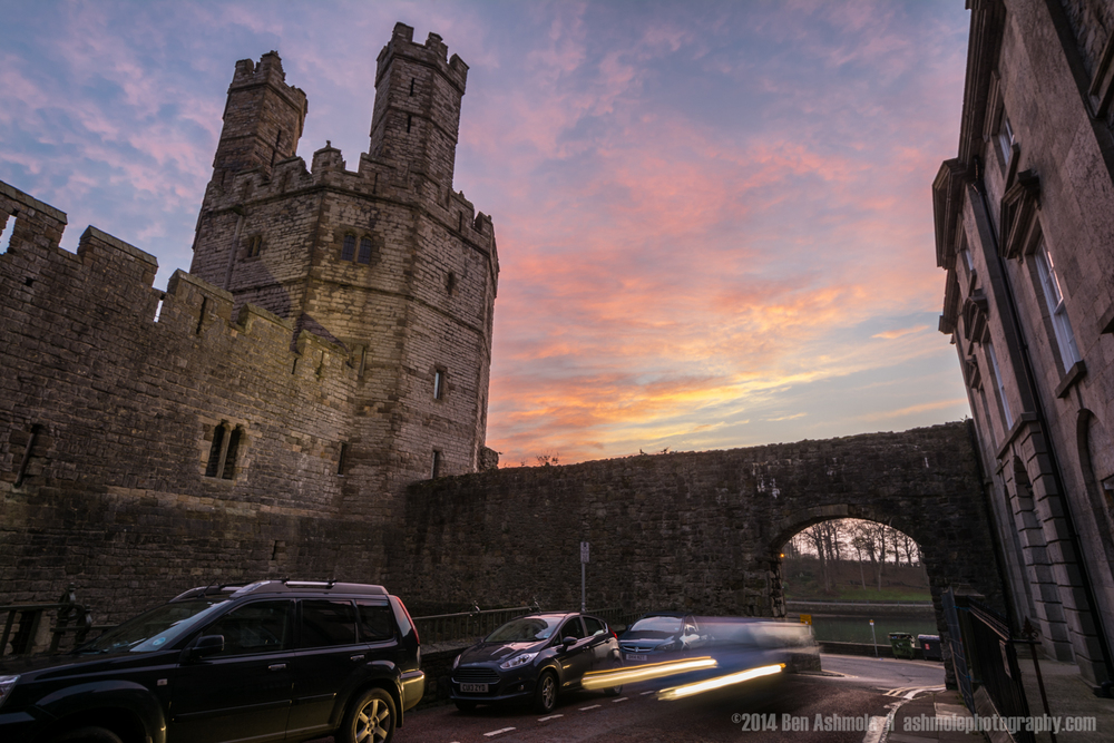 Sunset By The Castle, Caernarfon, Wales, UK